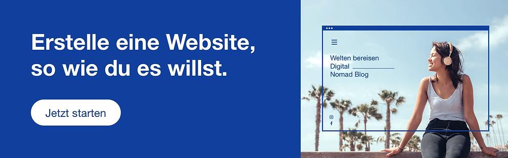 """""""Erstelle eine Website, so wie du es willst.""""-Banner"""
