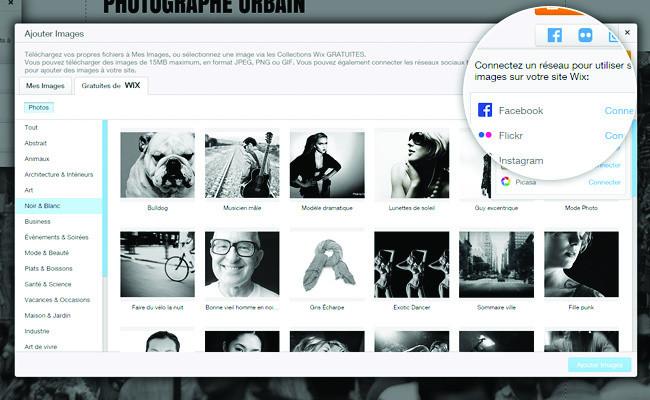 Importer ses images depuis les réseaux sociaux sur son site Wix