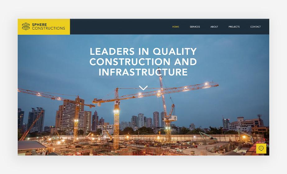 SPHERE 건축회사 웹사이트에서 보여주는 기업가 정신 모토 문구