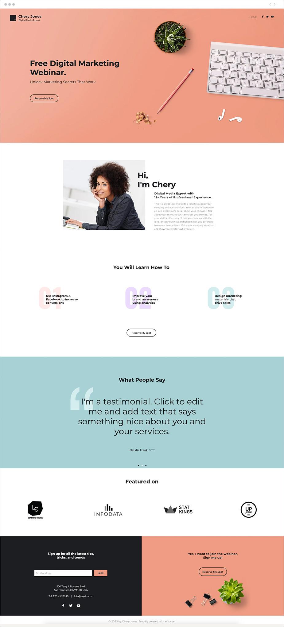 Шаблон «Лединг вебинара»
