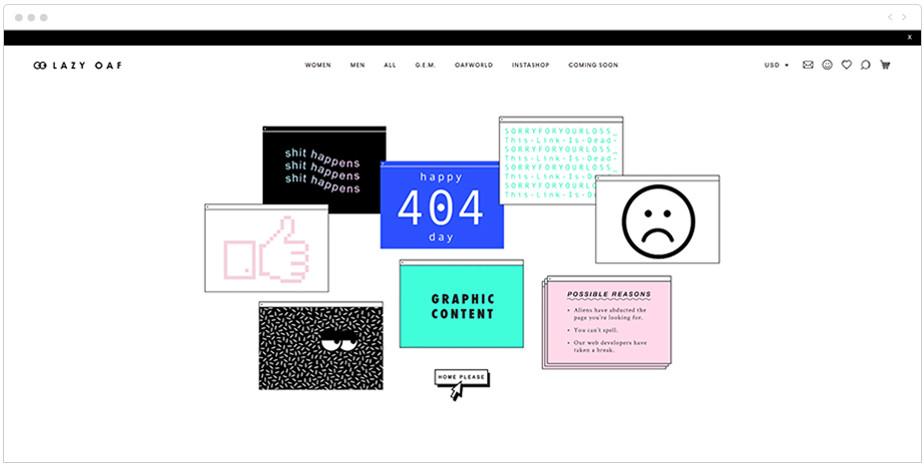 Lazy Oaf 404 page design