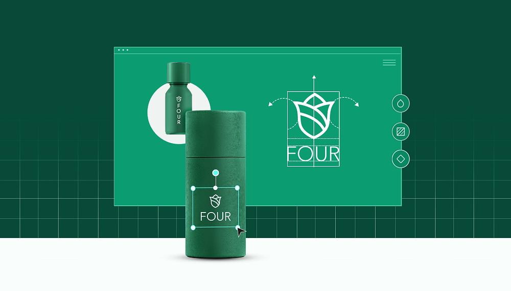 """Exemplo de logo de marca fictícia chamada """"four"""" em criação"""