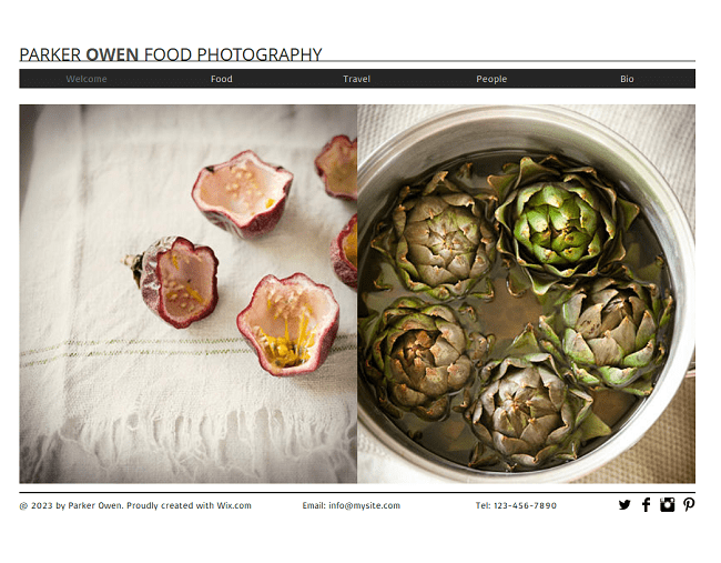 Food Photography Template de Site - WIX