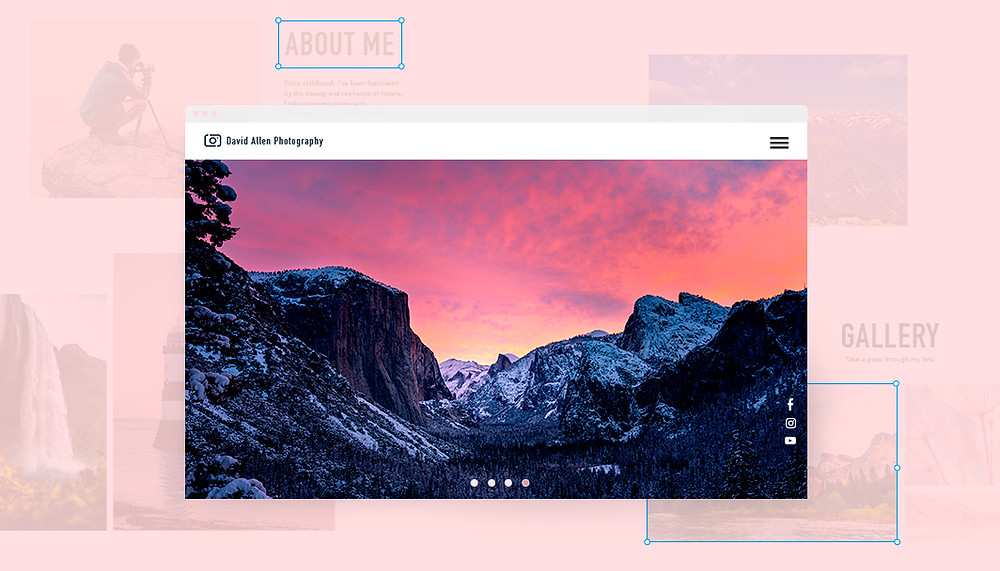 Bild eines Computer Desktops mit einer Landschaftsaufnahme