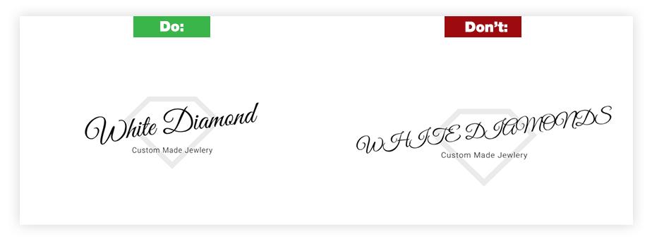 Ein Beispiel für ein gutes Logo und ein schlechtes Logo zum Thema Typografie