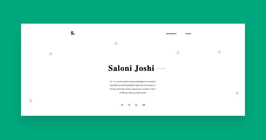 제품 디자이너 살로니 조시의 포트폴리오 웹사이트 이미지