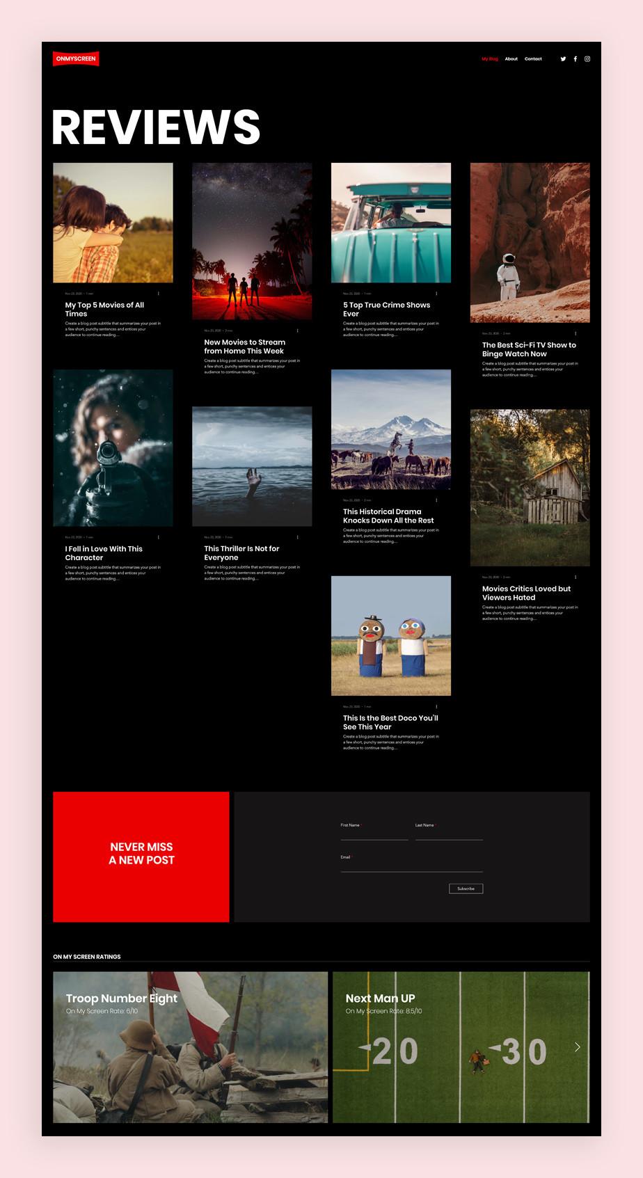 Blog Template von Wix für einen Film Blog