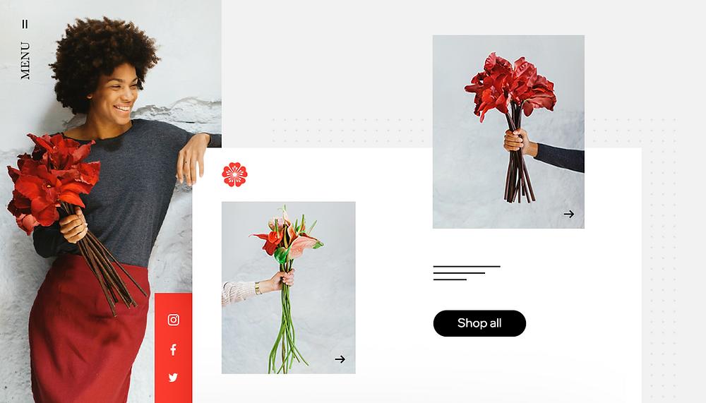 Hoe kun je in 2021 de succesvolle eigenaar van een klein bedrijf worden. Afbeelding van een vrouw met een bos bloemen voor bloemen webshop