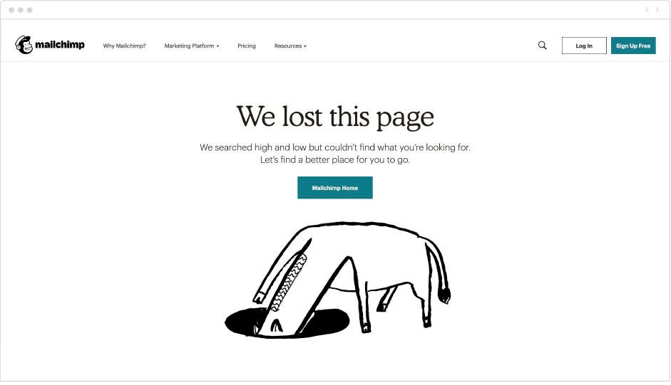 Mailchimp - page erreur 404