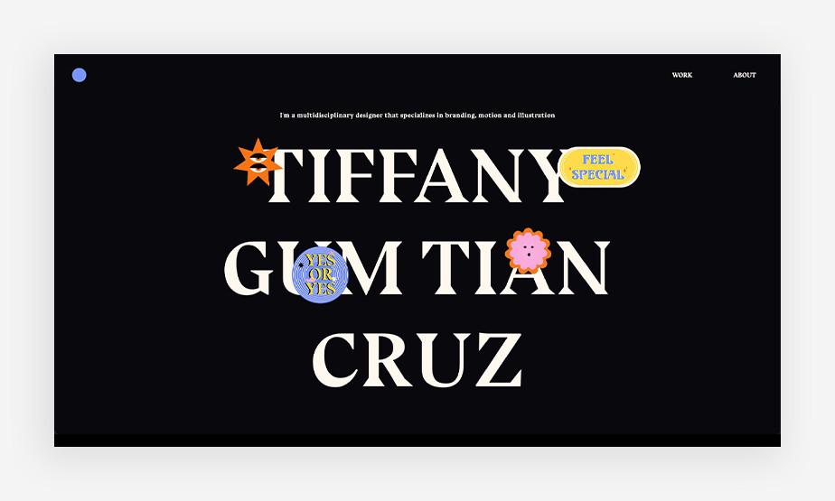 아름다운 타이포그래피가 매력적인 티파니 크루즈의 홈페이지 메인