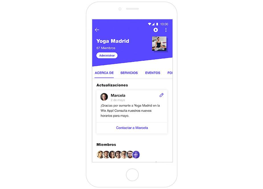 Imagen de pantalla de la app de Wix