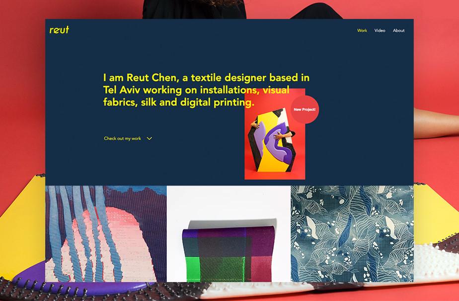 Captura de tela do site da designer têxtil Reut Chen. Os blocos geométricos que compõem seu site contrastam com suas obras, que têm um toque mais orgânico, texturizado e artesanal. O web design simples e sem distrações permite que sua arte se destaque.