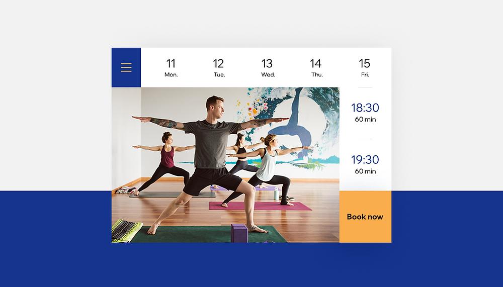 Screenshot des Kursangebotes einer Fitnesswebsite Beispiel von Websites für Dienstleistungsunternehmen