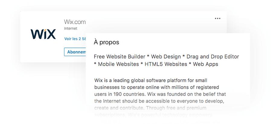 Page d'entreprise LinkedIn Wix
