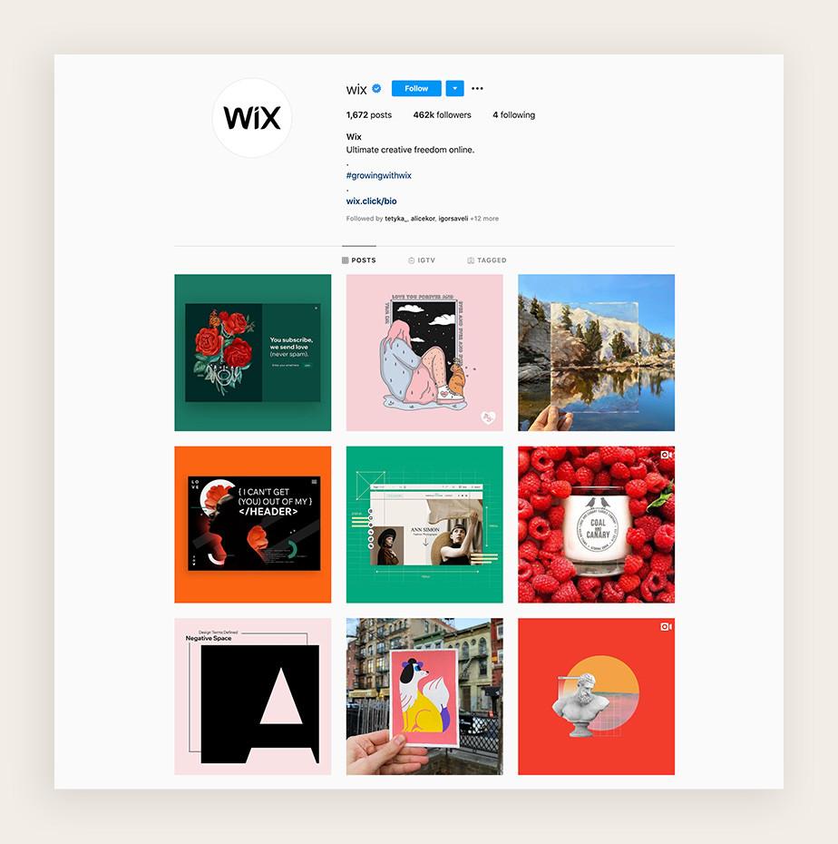 Screenshot do perfil do instagram do Wix