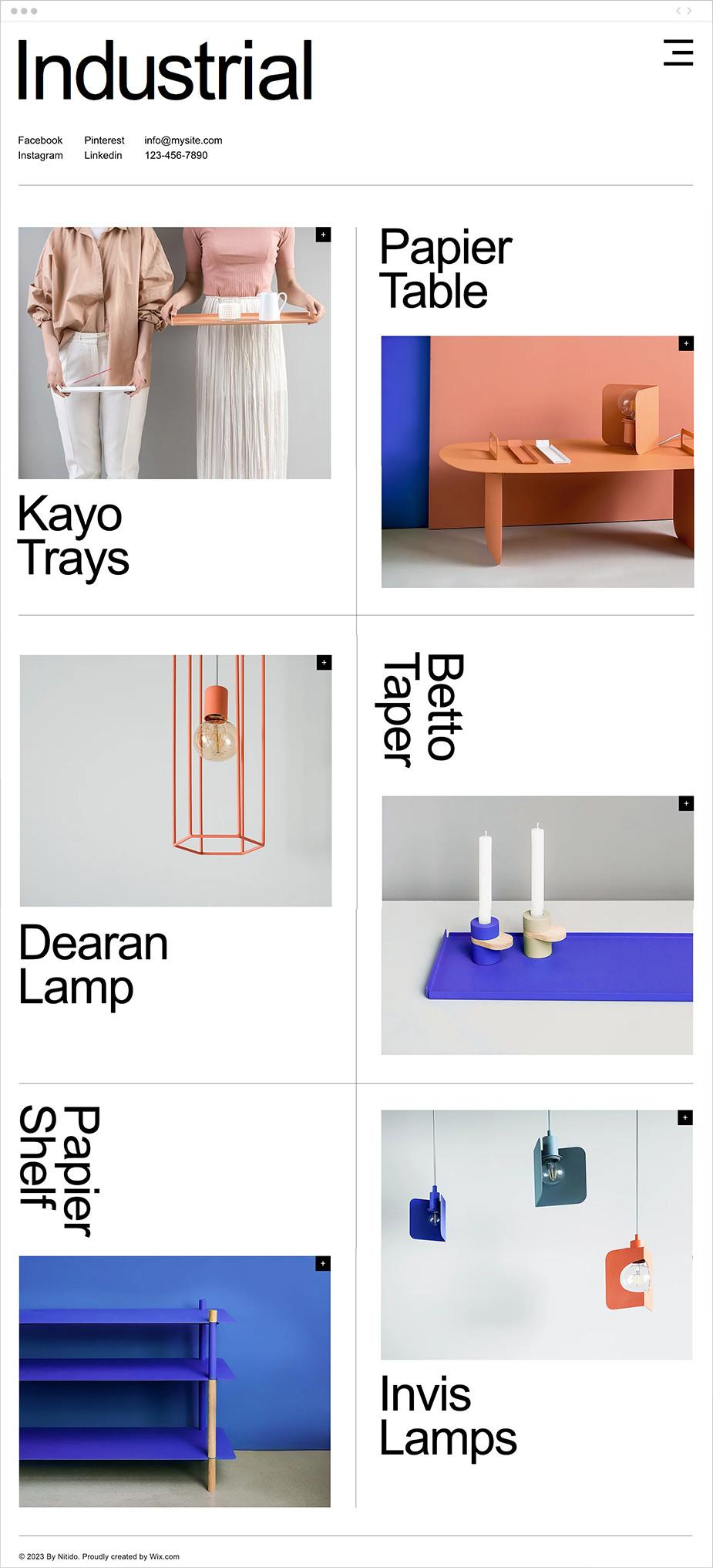 Template sito web per studio di design industriale