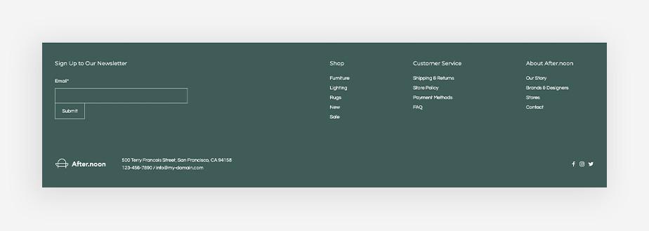 piè di pagina elementi visuali di web design