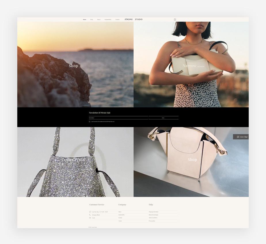 Screenshoot der Website von Jérome Studio