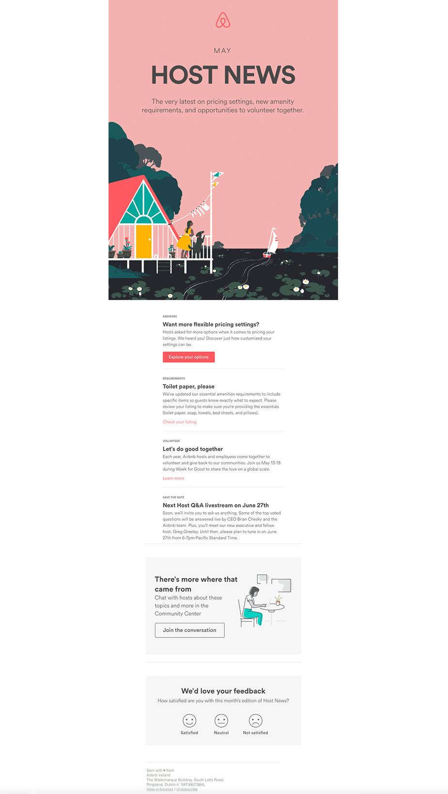Airbnb newsletter design