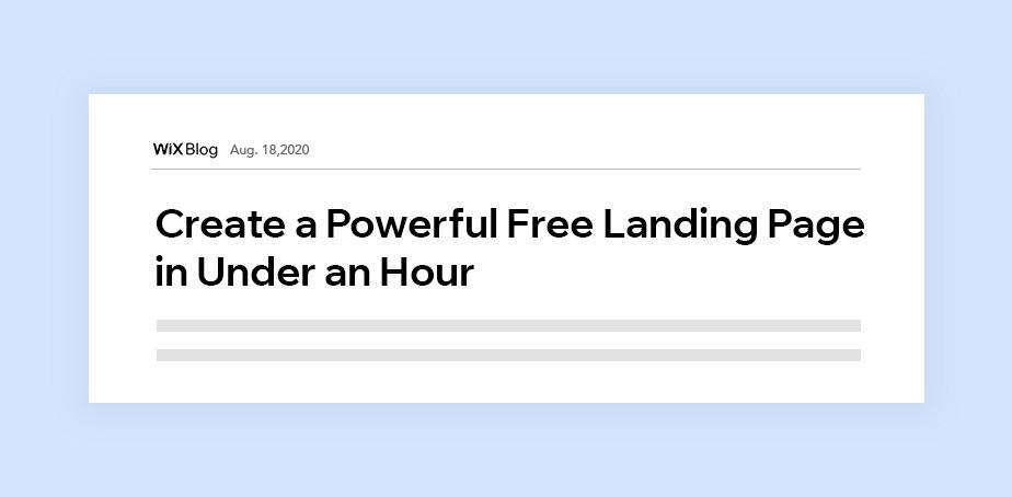 윅스 블로그의 캐치한 헤드라인 '한 시간 내로 강력한 랜딩 페이지 작성하기'