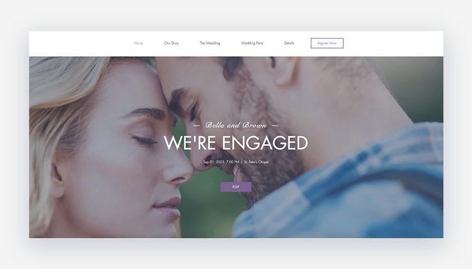 Template di sito web matrimonio che mostra una coppia in piedi