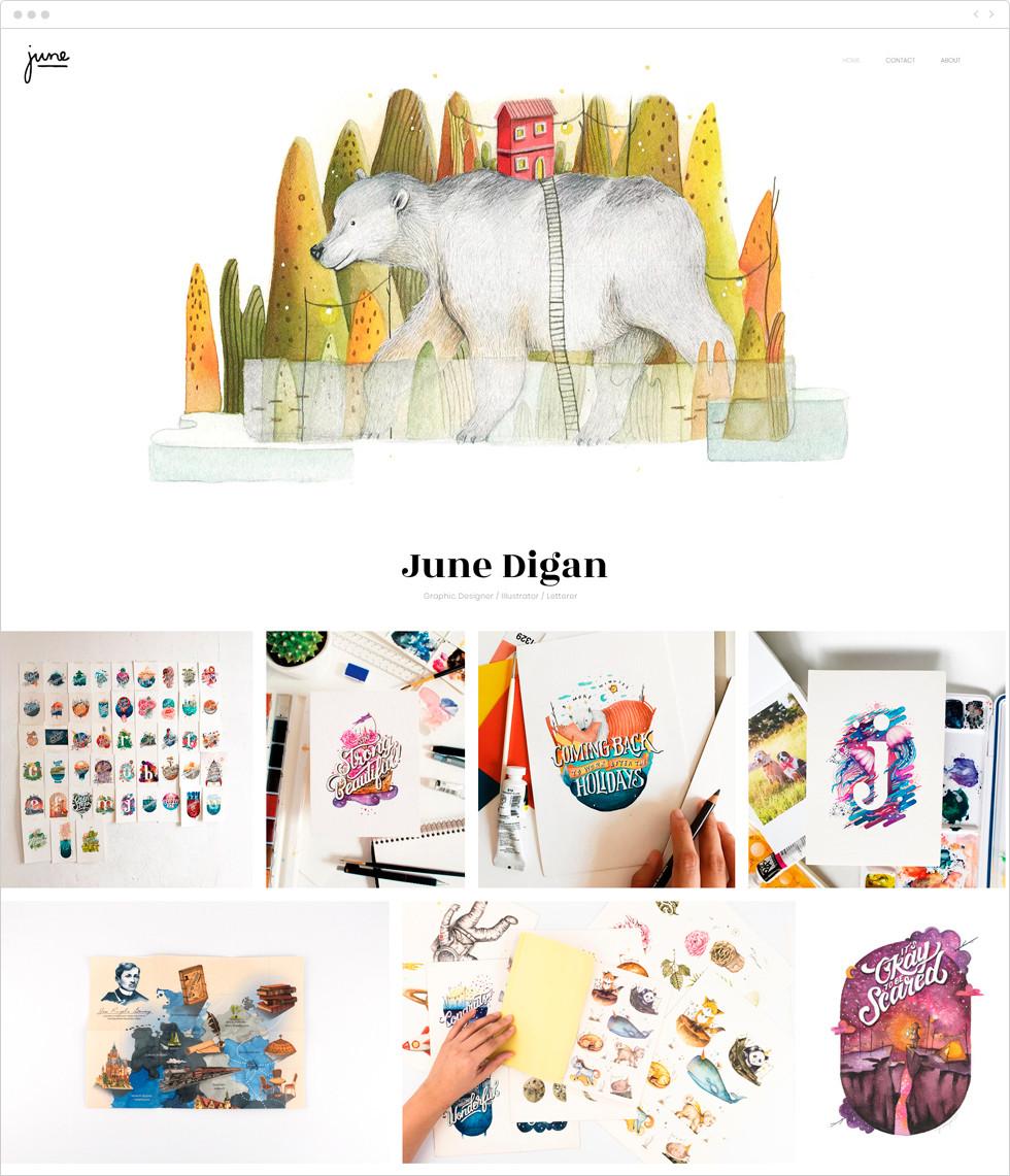 Designer porfolio examples: June Digan