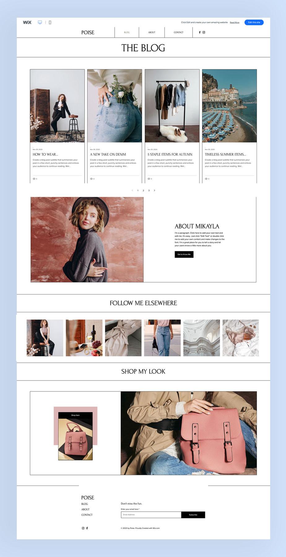 fashion blog wix website template