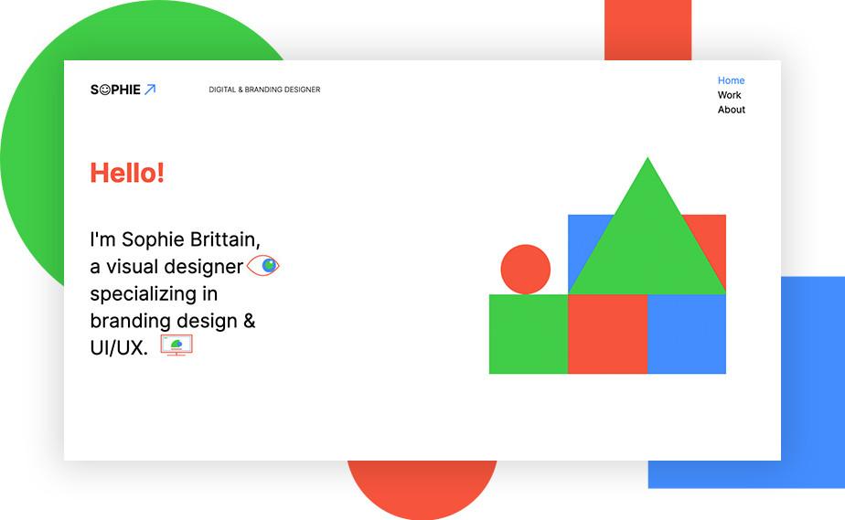Captura de tela do site de portfólio da designer Sophie Brittain. O site tem fundo branco com formas geométricas em tons vivos de verde, azul e vermelho ao lado direito. No lado direito pode-se ver a apresentação da designer e na parte superior, o menu do site.