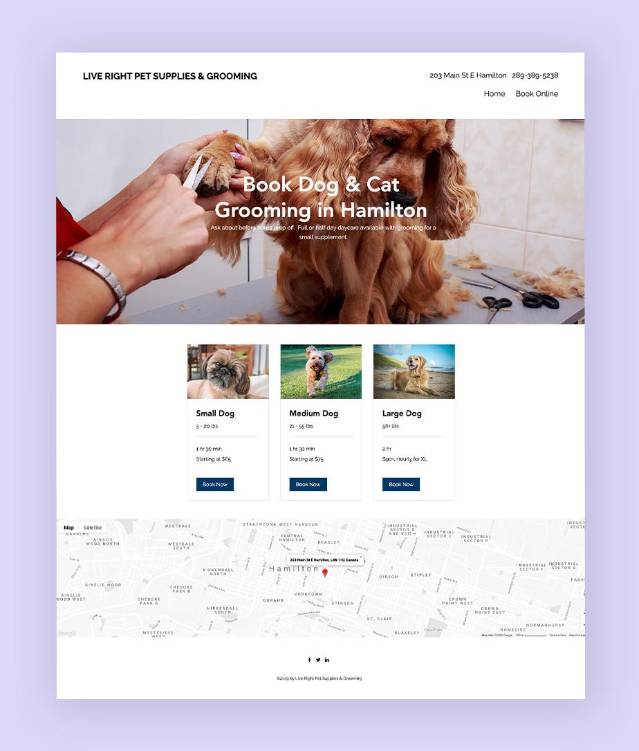 Exemplo de site que utiliza o Wix Bookings:  Pet Shop e Loja Live Right