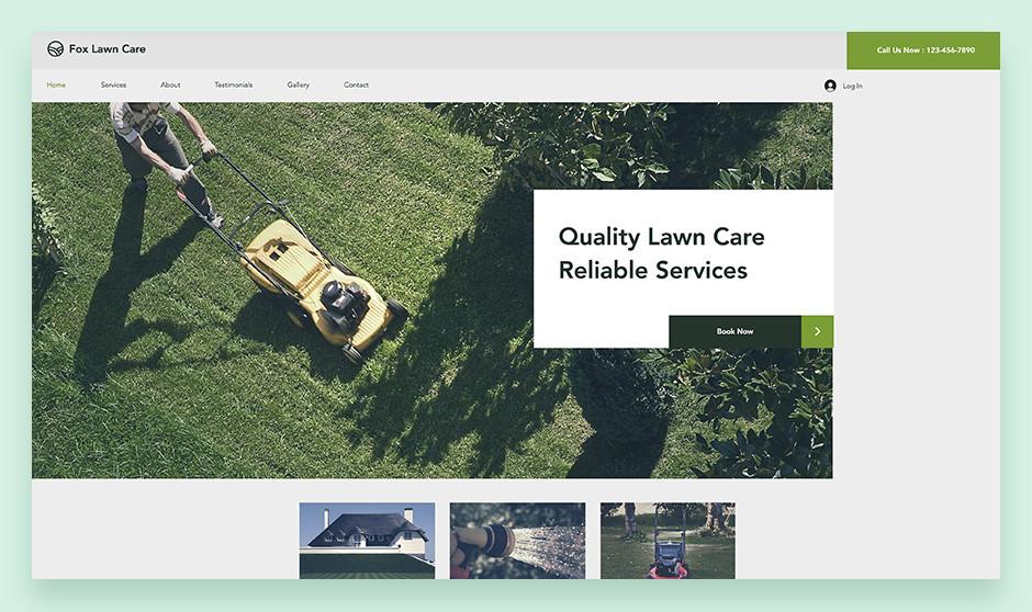 푸른 잔디와 잔디깎이 기계의 이미지가 배치된 잔디 관리 웹사이트 템플릿
