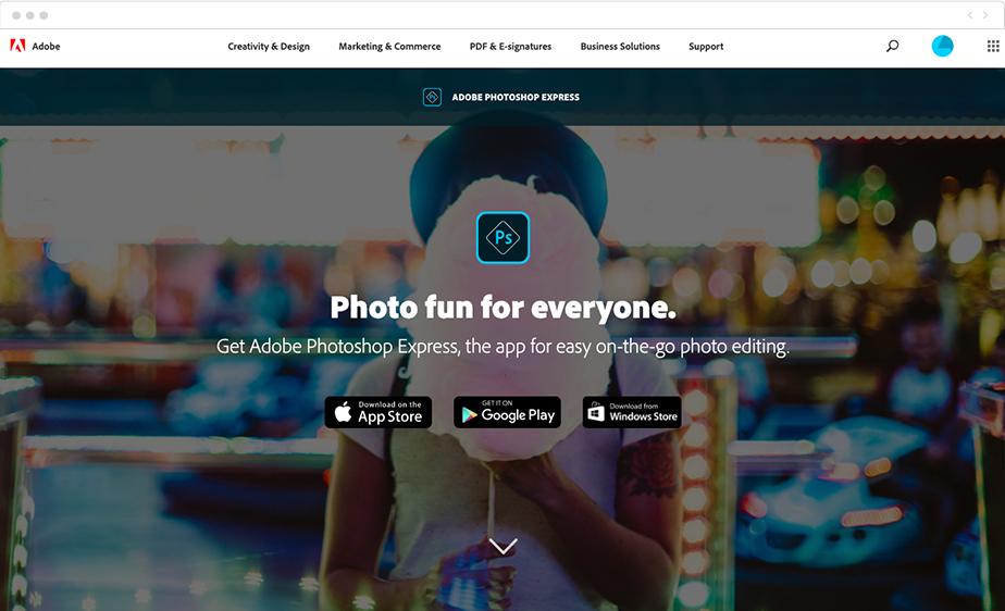 Ausschnitt der Homepage von Adobe Photoshop Express