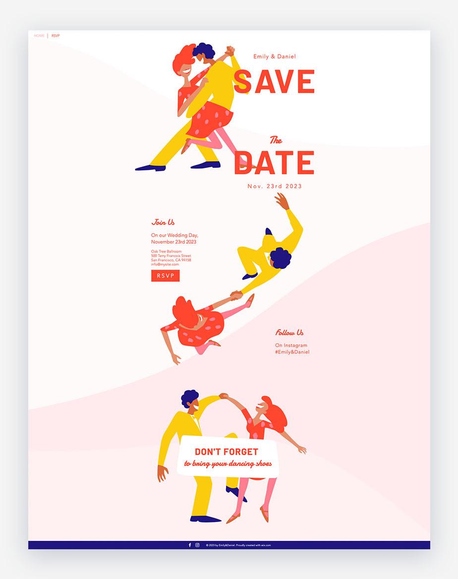 template di sito per matrimonio con persone che ballano mostrato in un'illustrazione vettoriale