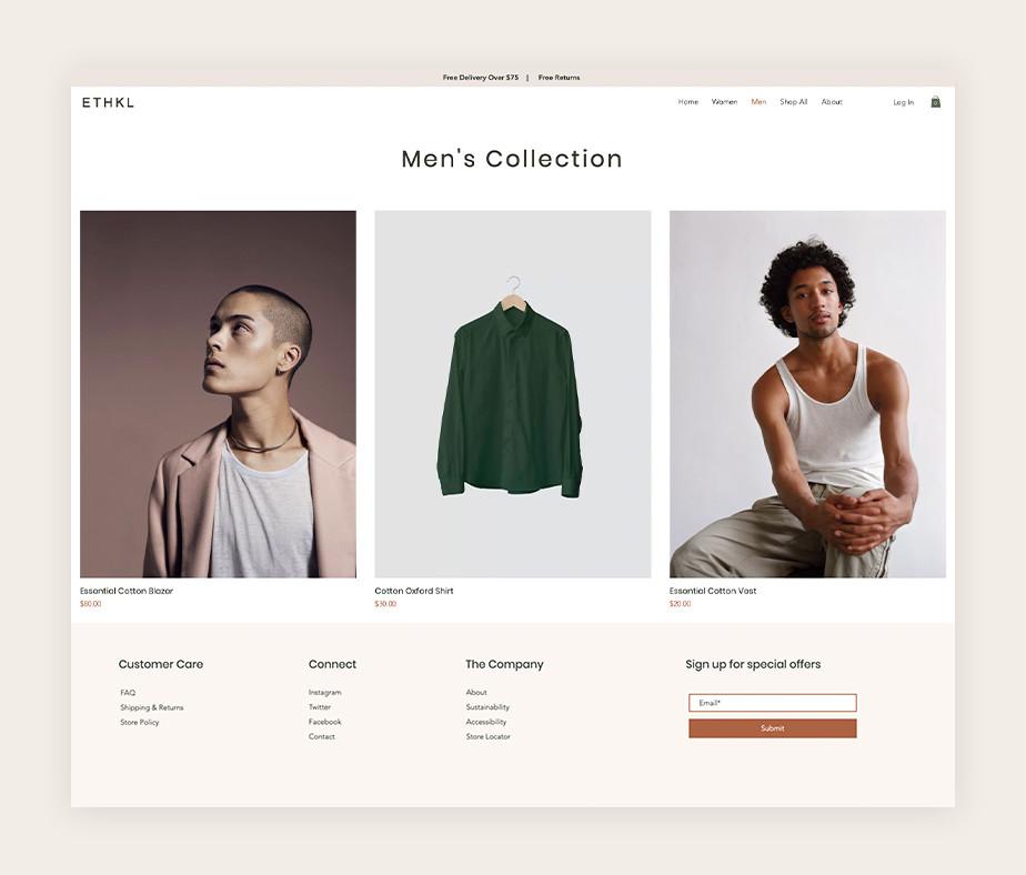 Loja virtual de roupas masculinas