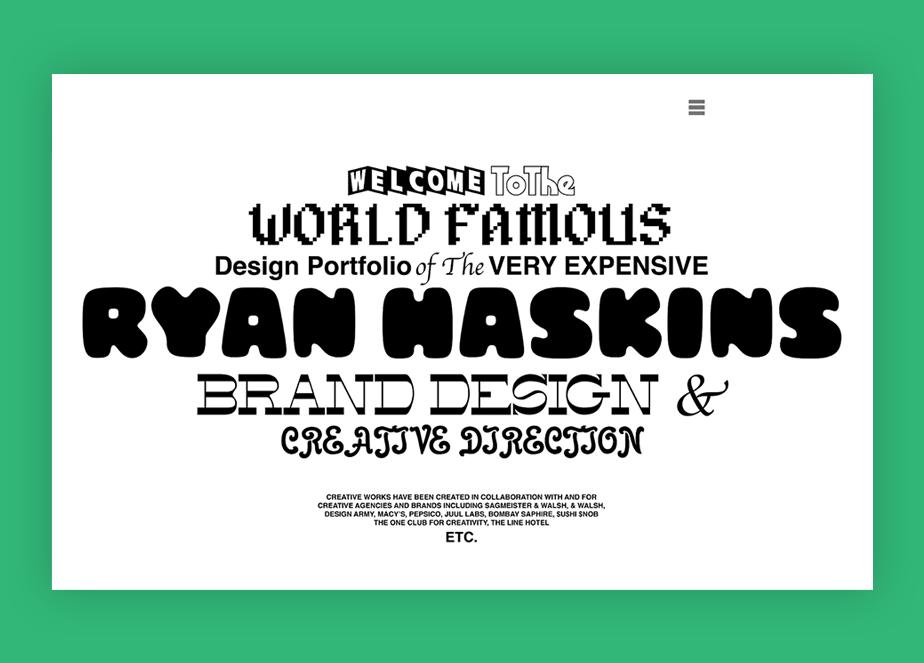 Captura de tela da página inicial do designer e artista visual Ryan Haskins. O site tem fundo branco, e um tempo de apresentação de Ryan em cerca de 5 fontes diferentes