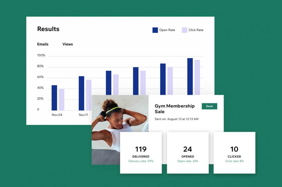 Ansicht der Statistik für die Auswertung der Performance von Newslettern