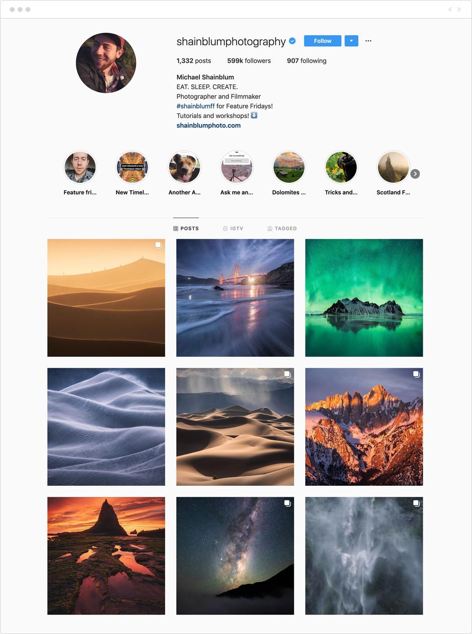 Feed de Instagram de Michael Shainblum