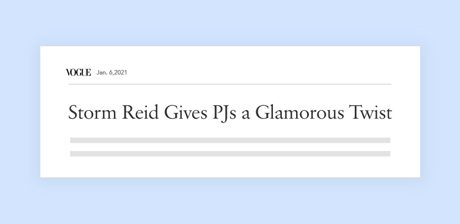 보그 잡지의 능동적인 헤드라인 기사 '스톰 레이드는 잠옷에 화려한 반전을 선사한다'