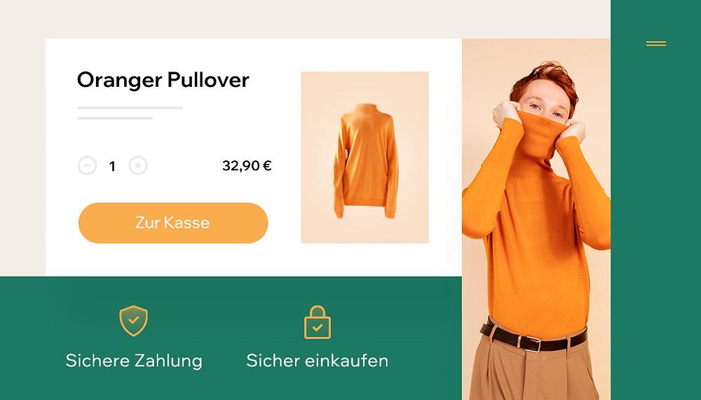 """Ansicht eines sicheren Online-Shops mit Model und Produkt eines orangen Pullovers und dem CTA-Button """"Zur Kasse"""""""