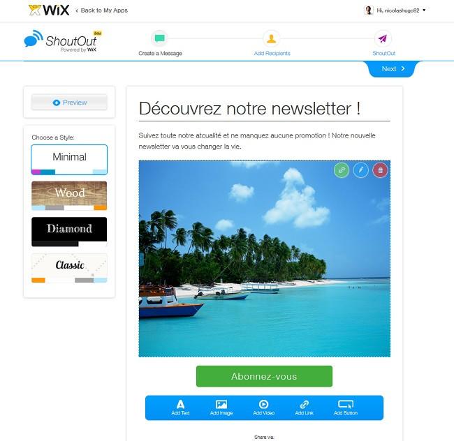 Outil de newsletter Wix