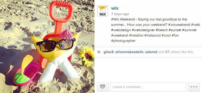 Снимок из Instagram: игрушка в форме логотипа Wix отдыхает на пляже