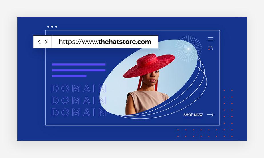 Bild mit Frau und Hut und einer Domain