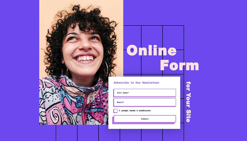 Titelbild mit lächelnder Frau und einem Online-Formular