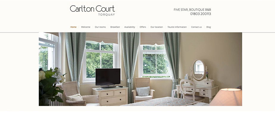 Hotel website design Carlton Court
