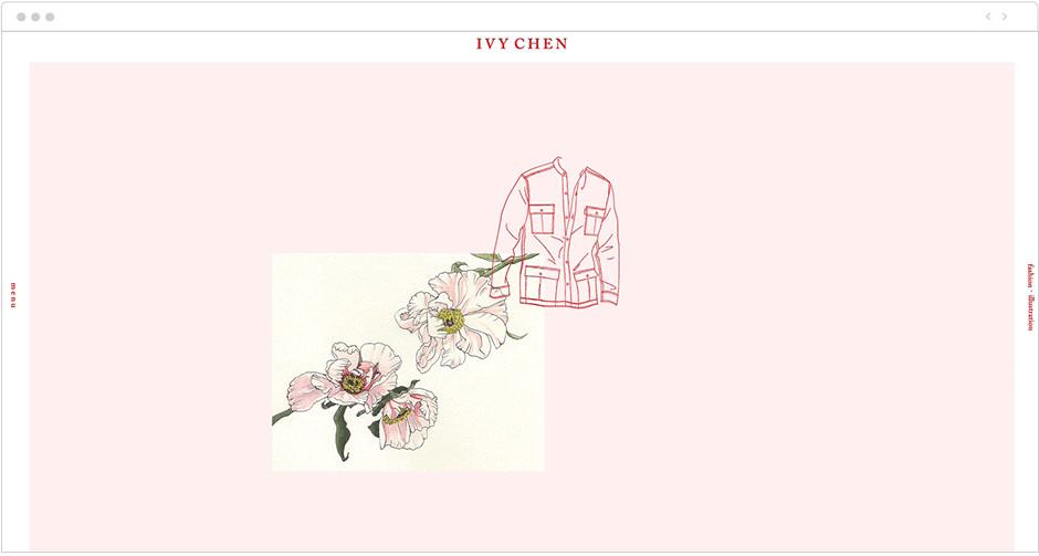Параллакс эффект на сайте с иллюстрациями в мягкой розовой гамме