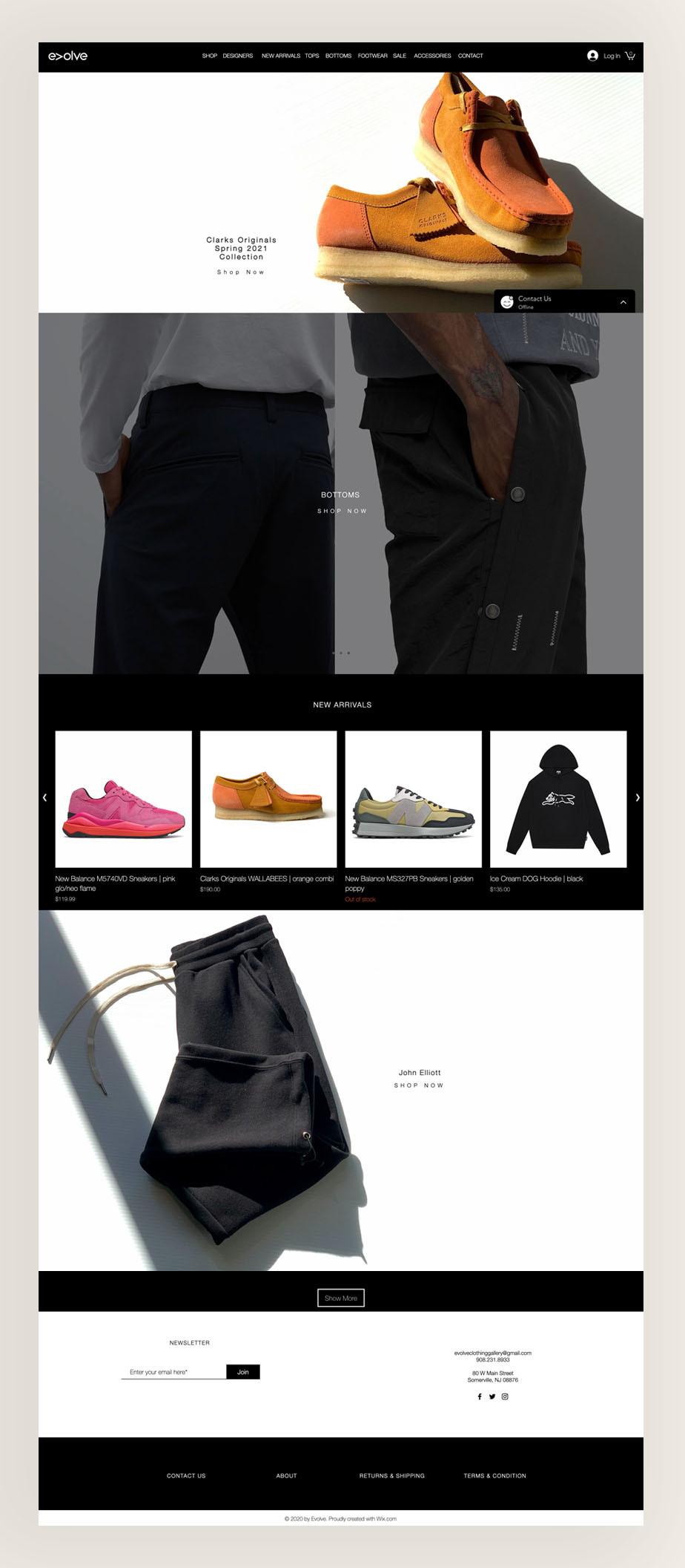 örnek siteler: evolve clothing