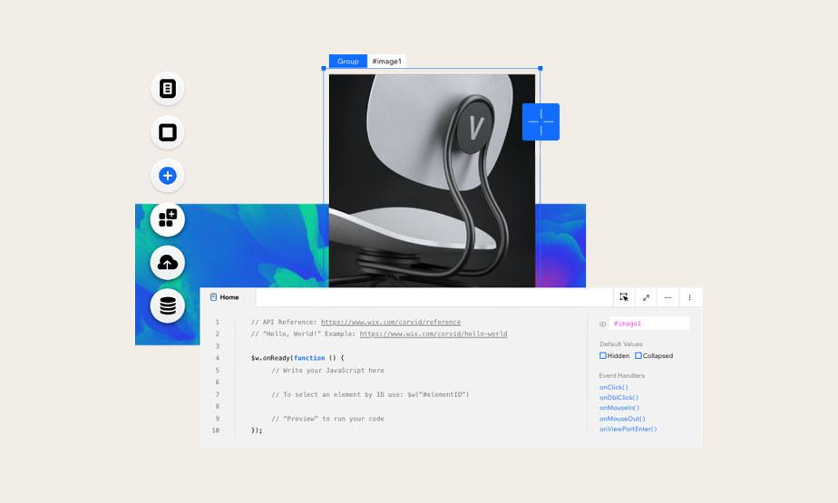 Ansicht verschiedener Funktionen von Velo by Wix inklusive Coding