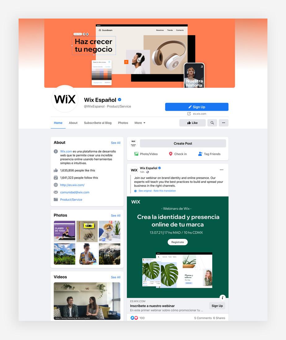 Pagina Facebook Empresa Wix