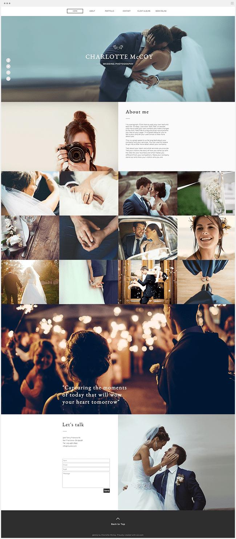 Template de site gratuit photographe mariage