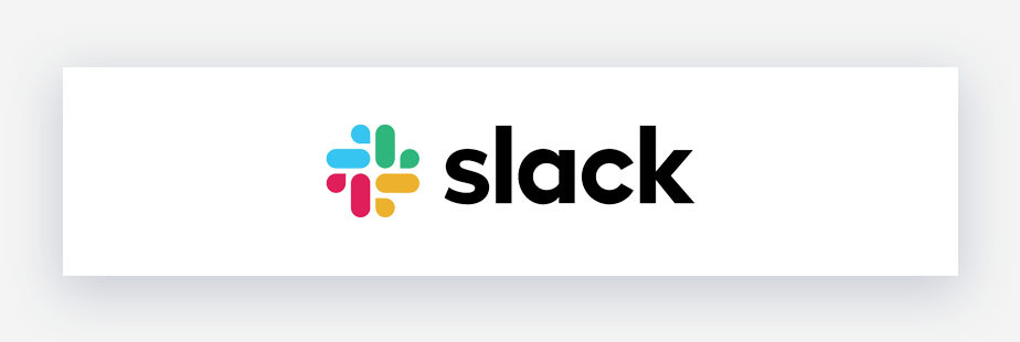 logo slack con blu, giallo, verde e rosso su sfondo bianco