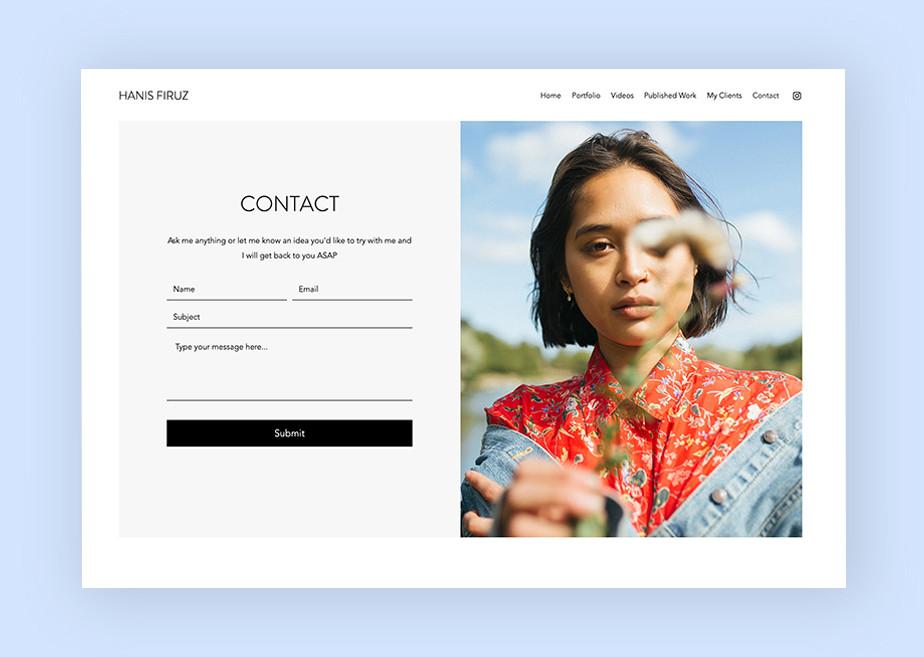 Strona kontaktowa – portfolio modelki Hanis Firuz